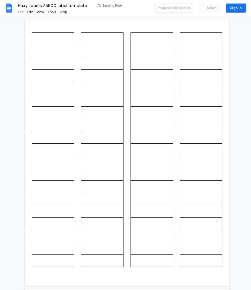 Avery 75500 Label Template