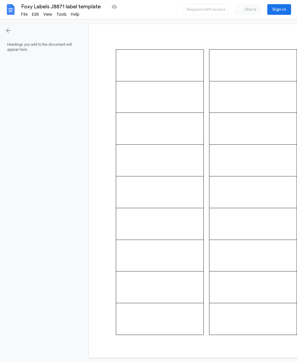 Avery J8871 Label Template