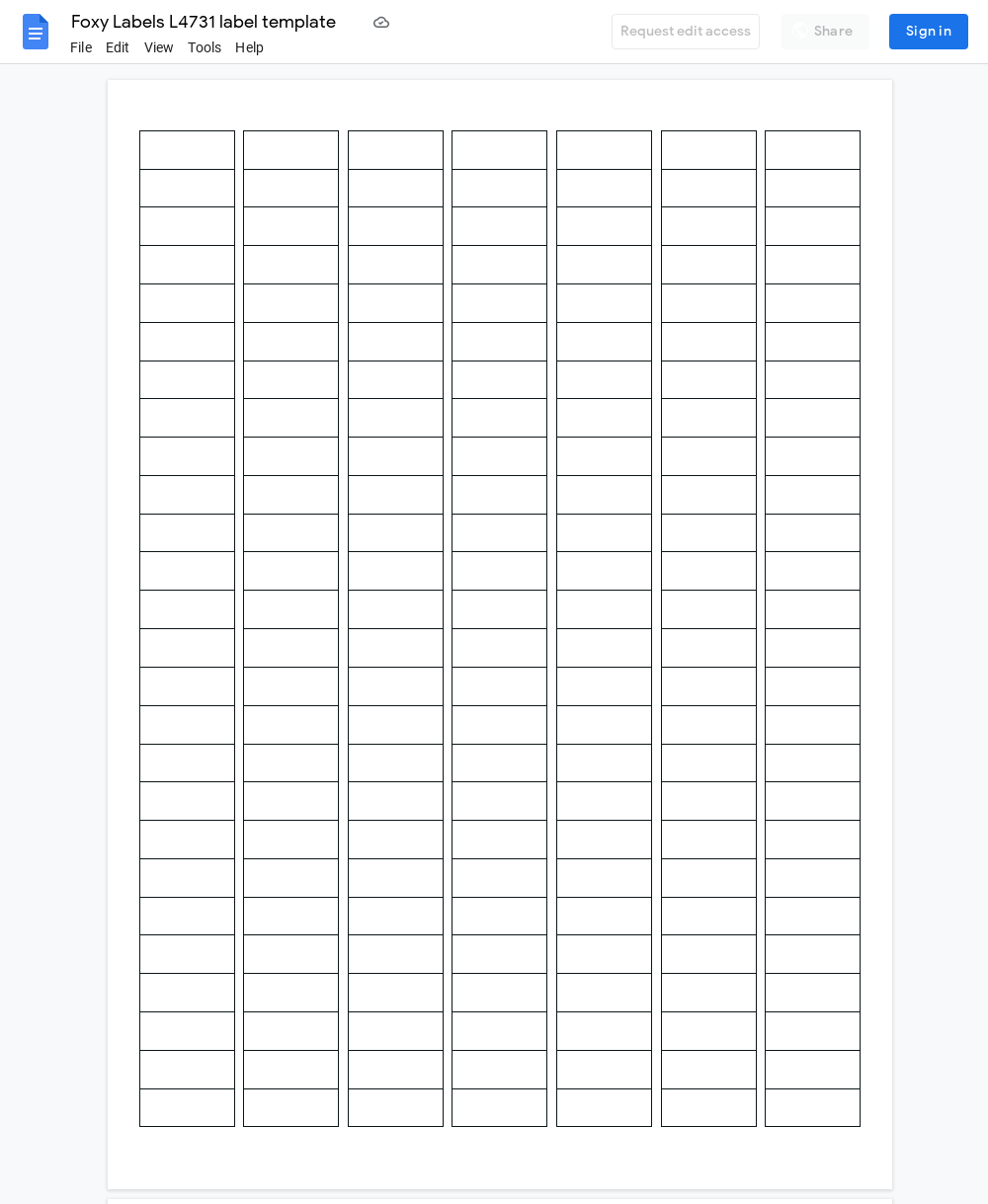 Avery L4731 Label Template