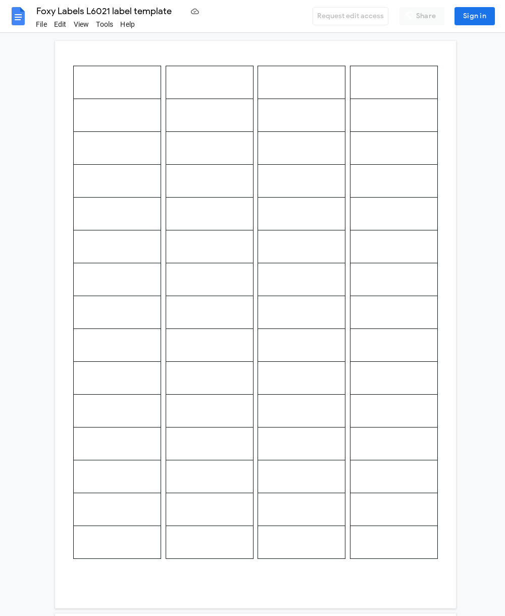 Avery L6021 Label Template