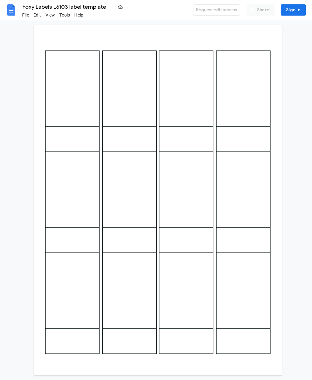 Avery L6103 Label Template